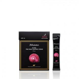 JM SOLUTION Active Pink Snail Sleeping Cream/Маска ночная обновляющая с муцином улитки 4 мл.