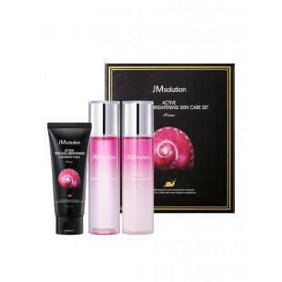 JM SOLUTION Active Pink Snail Brightening Skin Care Set/Набор для ухода за лицом с муцином улитки