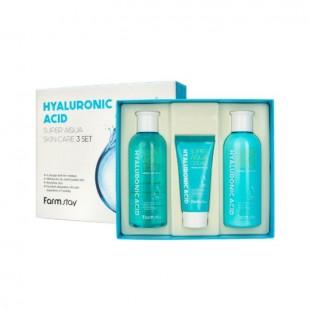 FARMSTAY Hyaluronic Acid Super Aqua Skin Care 3 Set/Набор средств для интенсивного увлажнения и защиты кожи с гиалуроновой кислотой