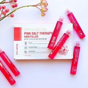 FARMSTAY Derma Cube Pink Salt Therapy Hair Filler/Филлер укрепляющий с розовой солью 13 мл.
