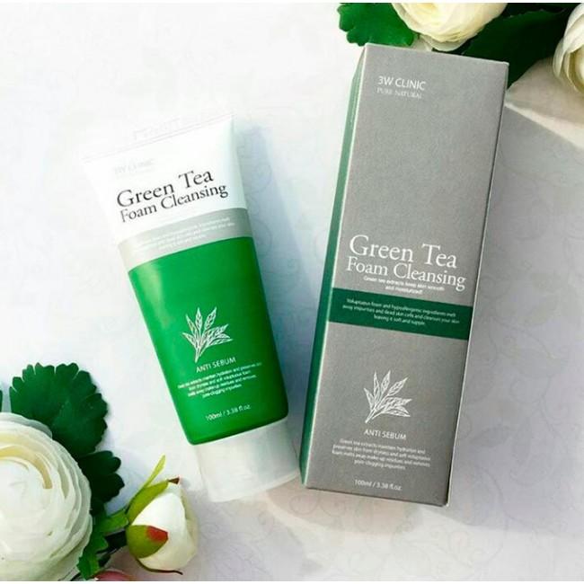 3W CLINIC Green Tea Foam Cleansing/Пенка для умывания зелёный чай 100мл.