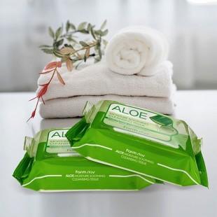 FARMSTAY Aloe Moisture Soothing Cleansing Tissue/Салфетки для снятия макияжа с экстрактом алоэ 30 шт.