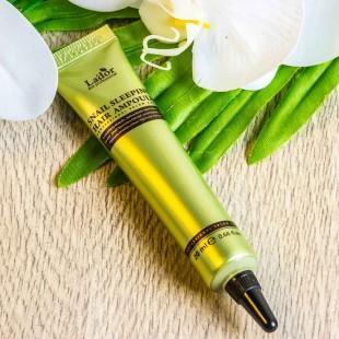 LA`DOR Snail Sleeping Hair Ampoule/Ночная восстанавливающая сыворотка для поврежденных волос 20 мл.