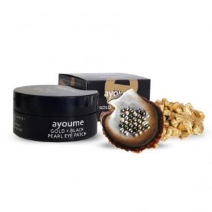 AYOUME Gold + Black Pearl Eye Patch/Патчи для глаз с золотом и черным жемчугом