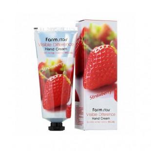 FarmStay Visible Difference Hand cream Strawbery/Крем для рук с экстрактом клубники 100 гр.