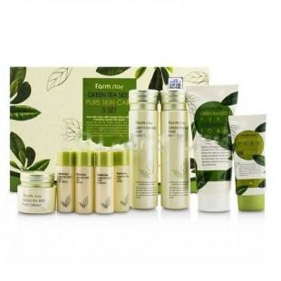 Farmstay Green Tea Seed Pure Skin Care 5-step Set/Набор косметики для лица с экстрактом зеленого чая