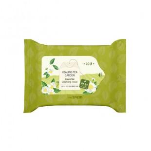 THE SAEM Healing Tea Garden Green Tea Cleansing Tissue 20 pcs/Очищающие салфетки с экстрактом зеленого чая