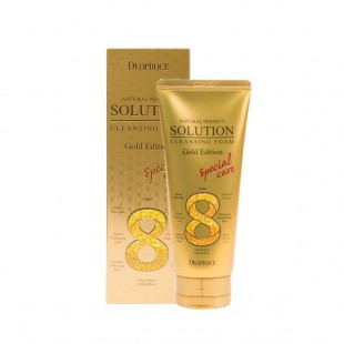 DEOPROCE ATURAL PERFECT SOLUTION CLEANSING FOAM GOLD/ Пенка для умывания золото 170g