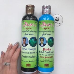 Jinda Herbal Hair Shampoo and Conditioner Fresh mee-leaf+Butterfly Pea/ Лечебные тайские шампунь и кондиционер для роста и против выпадения волос 250 мл