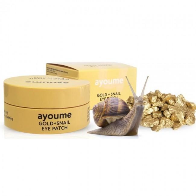 AYOUME Gold + Snail Eye Patch/Патчи для глаз с золотом и улиточным муцином