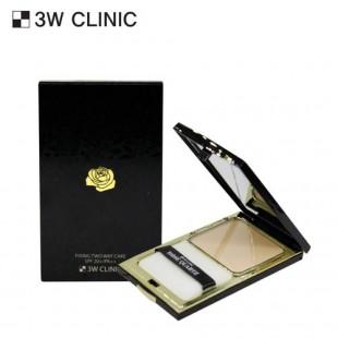 3W Clinic Rose Quartz Fixing Cover Twoway Cake/ Пудра для лица фиксирующая 11г