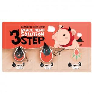 ELIZAVECCA Milky Piggy Black Head Solution 3 Step Набор для очищения кожи носа от черных точек