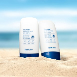 FARMSTAY Collagen Water Full Moist Sun Cream SPF50+ PA++++/ Солнцезащитный крем с коллагеном 45г